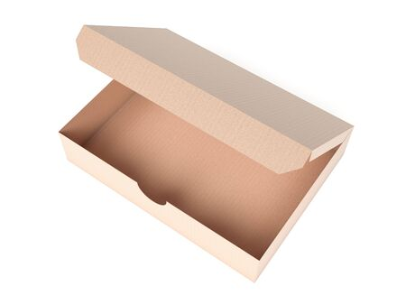 Flat brown paper box. Open carton. 3d rendering illustration isolated
