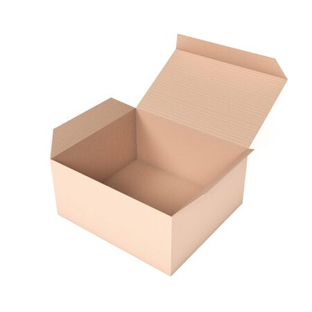 Open brown box mock up. 3d rendering illustration isolated