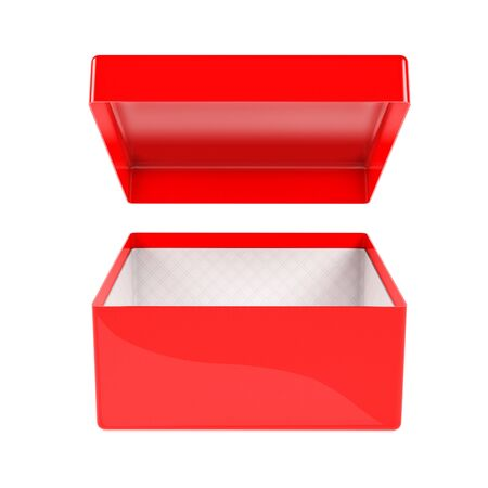Red empty gift box box. 3d rendering illustration isolated