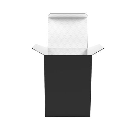 Black high box. Open carton with white inside. 3d rendering illustration isolated