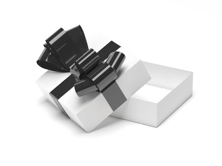 Gift box decorated with ribbon. Open empty container with black bow
