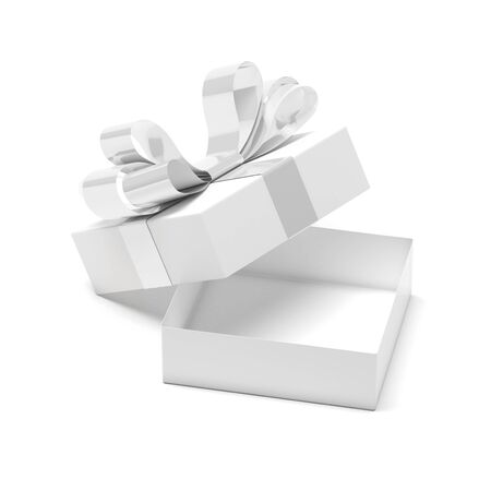 Gift box decorated with ribbon. Open empty container with white bow