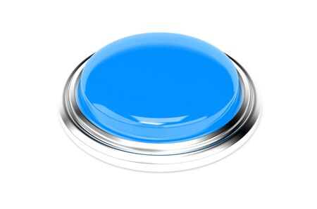 Blue push button. 3d rendering illustration isolated Imagens