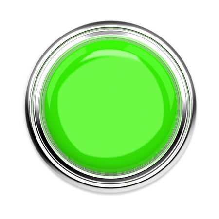 Green push button. Alarm sign, top view. 3d rendering illustration isolated