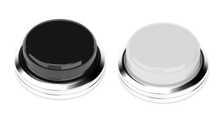 Black and white push buttons. 3d rendering illustration Imagens
