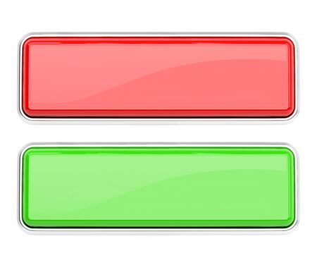 Red and green glass buttons. Square web icons. 3d rendering illustration isolated