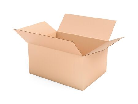 Open brown box mock up. Big shipping packaging. 3d rendering illustration