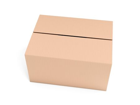 Closed brown corrugated carton box. Big shipping packaging. 3d rendering illustration