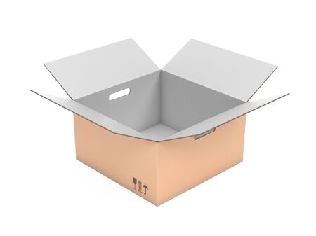 Open corrugated carton box with handle holes. White inside and brown outside. 3d rendering illustration isolated
