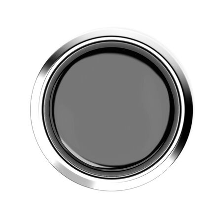 Black push button. Alarm sign, top view. 3d rendering illustration isolated
