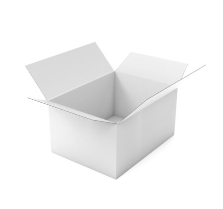 Open white corrugated carton box mock up. Big shipping packaging. 3d rendering illustration isolated