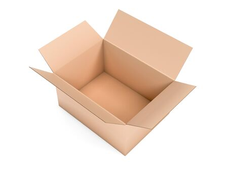 Open brown box mock up. Big shipping packaging. 3d rendering illustration isolated 스톡 콘텐츠