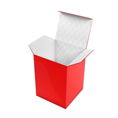 Red high box. Open carton with white inside. 3d rendering illustration