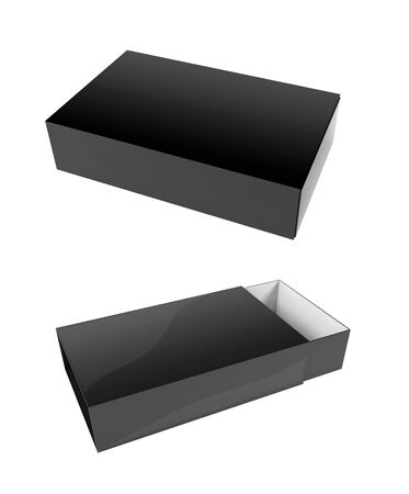 Slider paper carton set. Black box mock up. White and brown. 3d rendering illustration