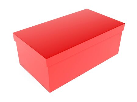 Red gift box. 3d rendering illustration isolated 스톡 콘텐츠