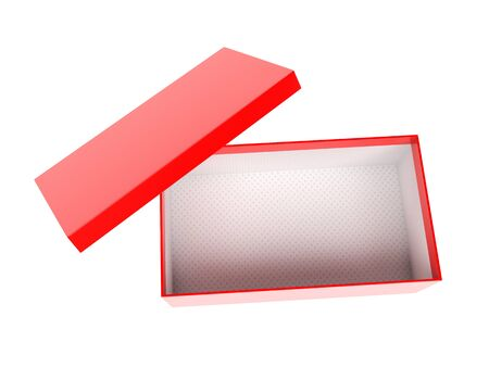 Red empty shoe box. 3d rendering illustration isolated