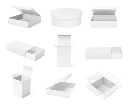 White paper boxes. Collection. 3d rendering illustration isolated