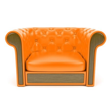 Orange leather sofa
