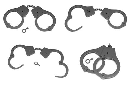 Police handcuffs with a key. Open and closed. 3d rendering illustration isolated 스톡 콘텐츠
