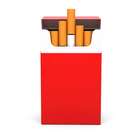 Red open pack of cigarettes