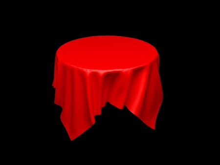 Red tablecloth on invisible round table. On black background 스톡 콘텐츠