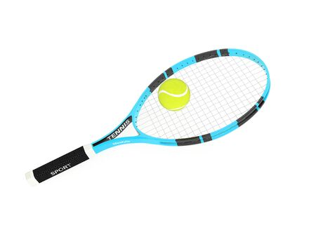 Tennis racket with yellow tennis ball