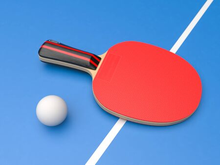 Red table tennis racket with ball. On blue background