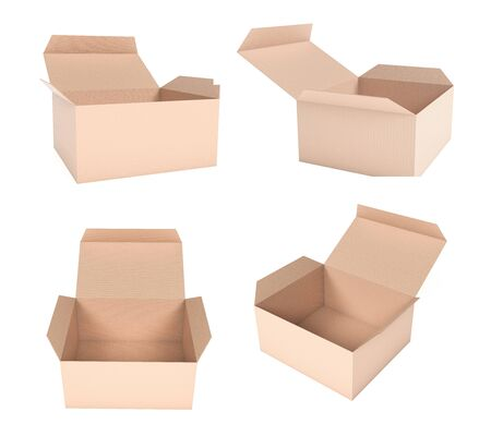 Open brown box mock up. Set of cardboard cartons. 3d rendering illustration isolated