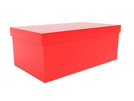 Red closed box. 3d rendering illustration isolated 스톡 콘텐츠