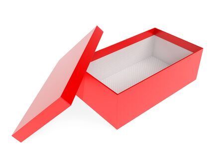 Box. Red empty shoe box. 3d rendering illustration isolated