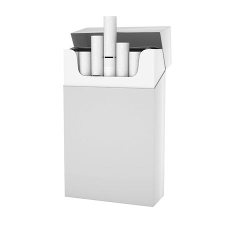 White full pack of cigarettes with white filter