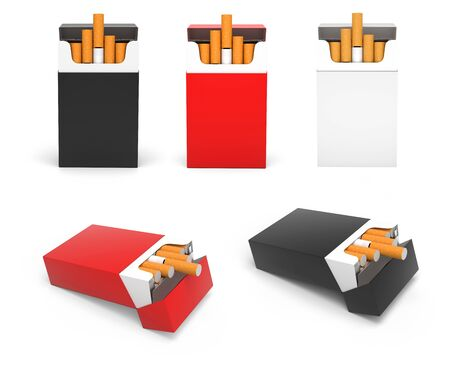 Packs of cigarettes. Standing and laying open packs