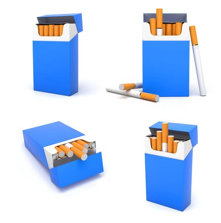 Blue blank packs of cigarettes. With brown filter