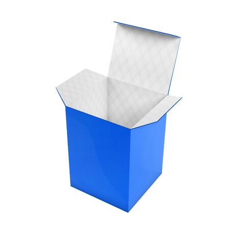 Blue high box. Open carton with white inside. 3d rendering illustration isolated