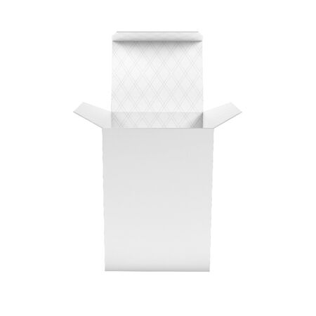 White high box. Open carton with white inside. 3d rendering illustration isolated
