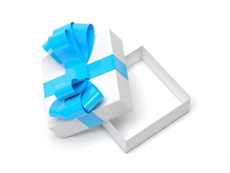 Gift box decorated with ribbon. Open empty container with blue bow