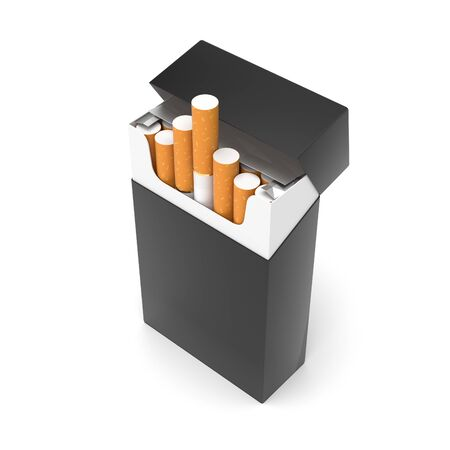 Black open pack of cigarettes