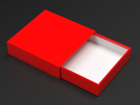 Slider box. Red blank open box mock up. On black background. 3d rendering illustration 스톡 콘텐츠