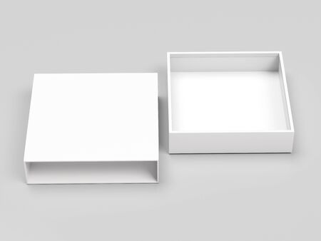 Slider box. White blank open box mock up. On gray background. 3d rendering illustration