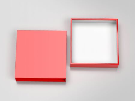 Slider box. Red blank open box mock up. On gray background. 3d rendering illustration