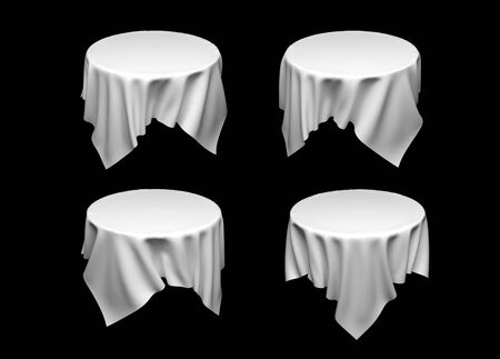 White tablecloth on invisible round table. Set of different cloths on black background