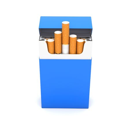 Blue open pack of cigarettes