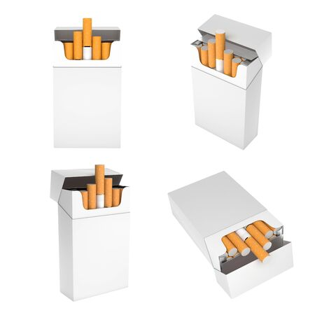 White blank packs of cigarettes. With brown filter