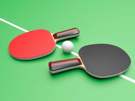 Red and black table tennis rackets with ball. On green background 스톡 콘텐츠