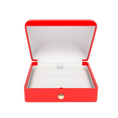 Jewelry box. Open empty case for jewels. 3d rendering illustration isolated 스톡 콘텐츠