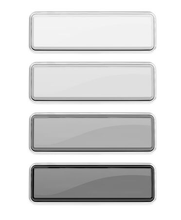 Black and white glass buttons set. Square push buttons with metal frame. 3d rendering illustration isolated 스톡 콘텐츠