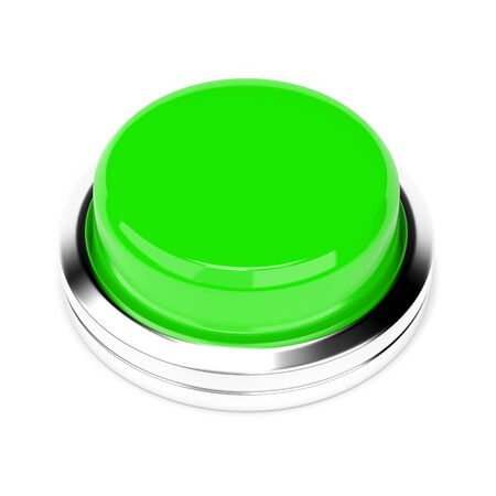 Green push button. 3d rendering illustration isolated