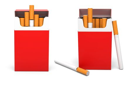 Red open packs of cigarettes