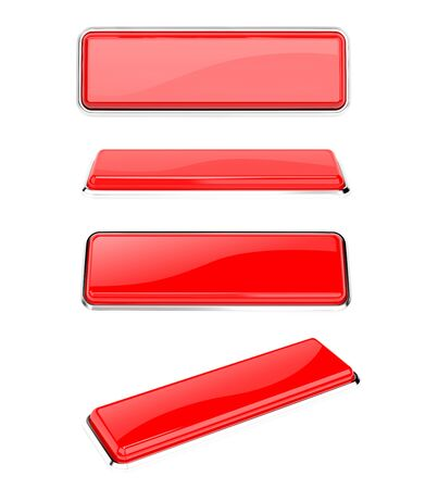 Red buttons. Rectangle web icons. 3d rendering illustration isolated