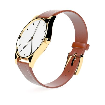 Wrist watch. White dial with golden case and brown leather bracelet 스톡 콘텐츠